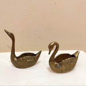 Vintage brass swans